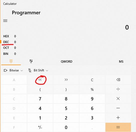 Bitwise calculator shift